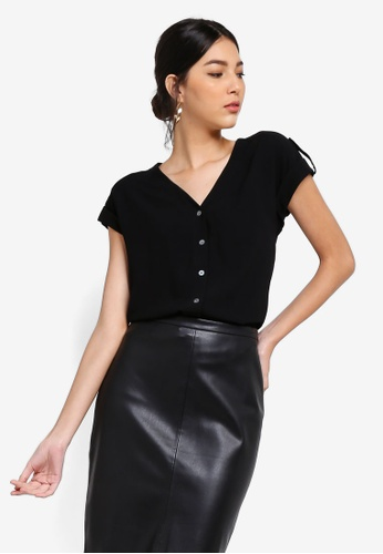 ZALORA black Button Detail Folded Sleeves Top 613A4AAB13D5A7GS_1