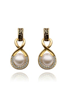 Treasure by B&D E495 Plated Oval Waterdrop Pearls Eardrop Dangle Earrings