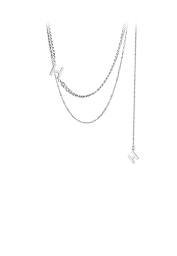 Glamorousky silver Fashion Simple English Alphabet H 316L Stainless Steel Double Necklace 848B7AC90A04ACGS_1