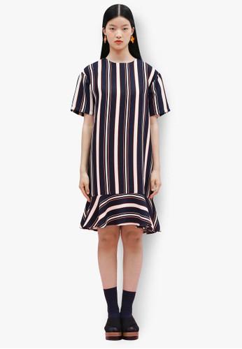 韓風條紋造型裙擺連身裙, 服esprit 面試飾, 洋裝