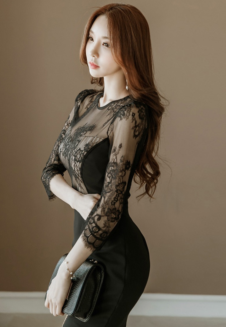 Black Dress Lace Sleeves CA031416 2018 New Piece One Black Sunnydaysweety Mid R1qf00Pw