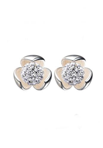 Elfi silver Elfi 925 Sterling Silver Shamballa Flower Earrings SE48 EL186AC86HARMY_1