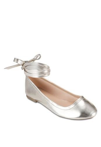 Haesprit台灣outletllie 多帶繞踝金屬感平底鞋, 女鞋, 鞋