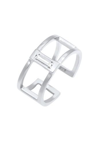 Elli Germany white Perhiasan Wanita Perak Asli - Silver Cincin Geo Minimalist Swarovski® Putih 2E8EDACE74293BGS_1