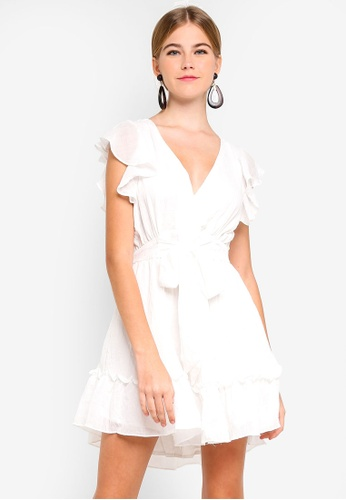 INDIKAH white Ruffle Cap Sleeve Skater Dress 82678AA8CE5145GS_1