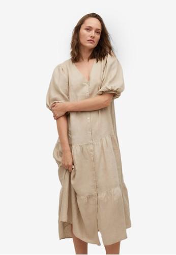 Mango grey 100% Linen Dress 73F48AA642ECBDGS_1