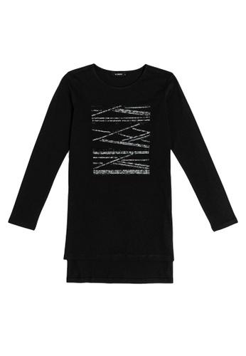 LC Waikiki black Spangled T-Shirt 35407AA8FDA143GS_1
