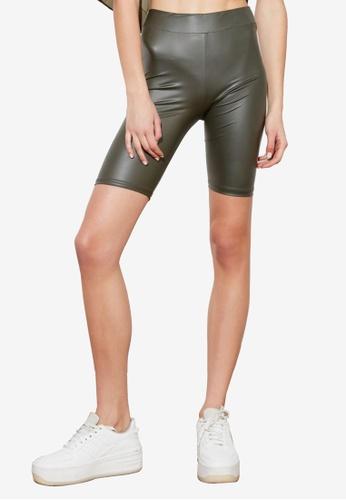 Trendyol green Leather Look Biker Shorts F8A97AA5811DCBGS_1