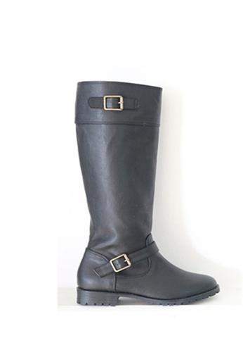 Crystal Korea Fashion black South Korea Made  Zipper Flat Boots CR681SH2WDWOHK_1