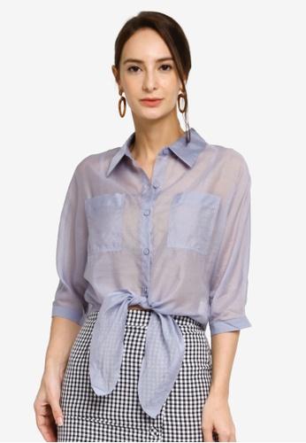Hopeshow blue and purple Semi Sheer Button Blouse 3123FAA63699B4GS_1