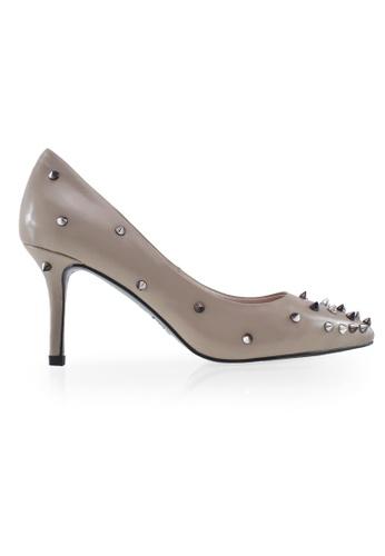 Gripz beige Belinda Spikie Pointed Mid Heels F82D3SH1036280GS_1