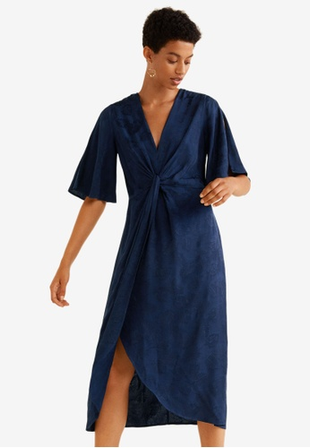 Mango blue Knotted Jacquard Dress 2D1F3AA6D1BA4BGS_1