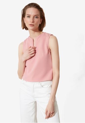 Trendyol pink V Flap Sleeveless Blouse 6A037AA7E3AFAAGS_1