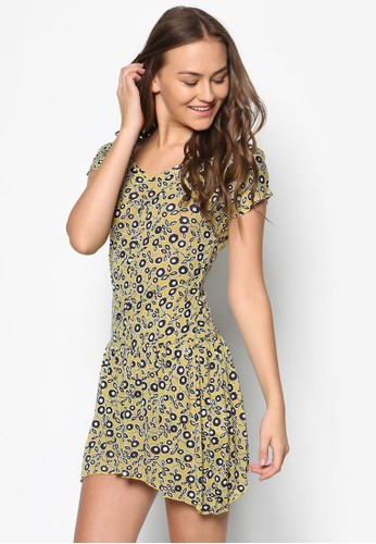 印花短袖連身裙, 服飾esprit outlet, 洋裝
