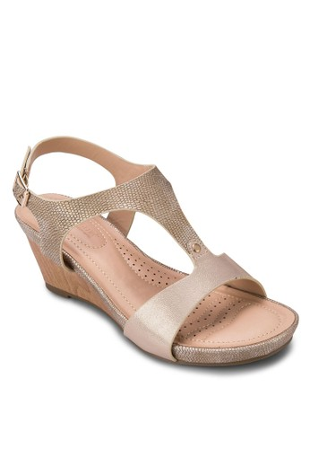 T字帶esprit台灣繞踝楔形涼鞋, 女鞋, 鞋