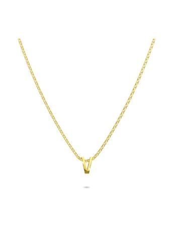 Bullion Gold gold BULLION GOLD Initials Brick Alphabet Letter Necklace Gold Layered Steel Jewellery  - V E86EEACAA11C62GS_1