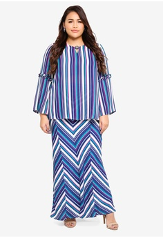 ee6a0e58500e 50% OFF Ms. Read Stripe Bell Sleeve Kurung RM 468.00 NOW RM 233.90 Sizes 14  16 18 20 22