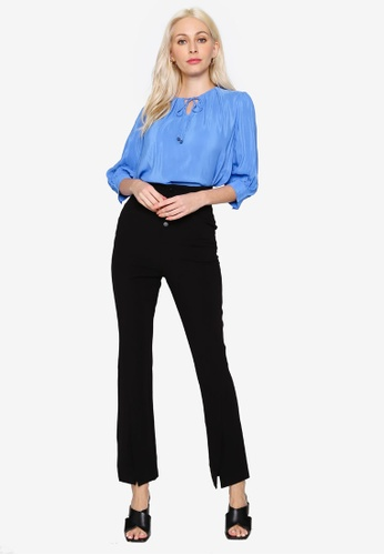 Hopeshow blue Ruffle Elbow Sleeve Round Neck Chiffon Blouse with Butterfly Knot Collar 287D8AAB7D8705GS_1