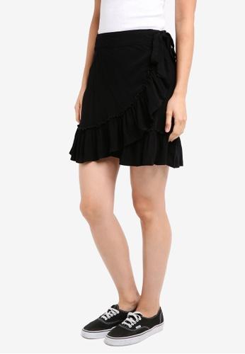 Cotton On 黑色 Woven Thea Wrap Mini Skirt 599DDAAC7D1AE7GS_1