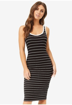 222b3b8edaba59 FOREVER 21 black Striped Midi Tank Dress CB399AA8F31D69GS_1