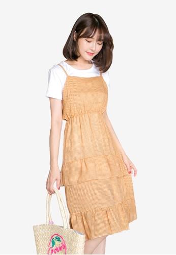 Tokichoi orange Ruffled Slip Dress 3C707AA9BC0E63GS_1