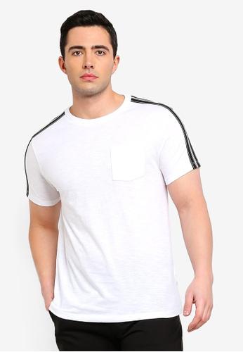 Burton Menswear London white White Slub Tape T-Shirt A3CF3AA9C4A088GS_1