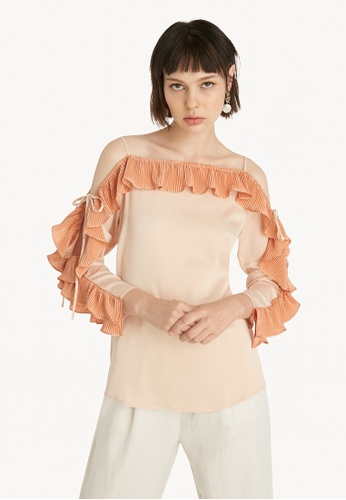 Pomelo brown Cold Shoulder Ruffled Sleeves Blouse - Brown 6ADB5AA7D907A3GS_1