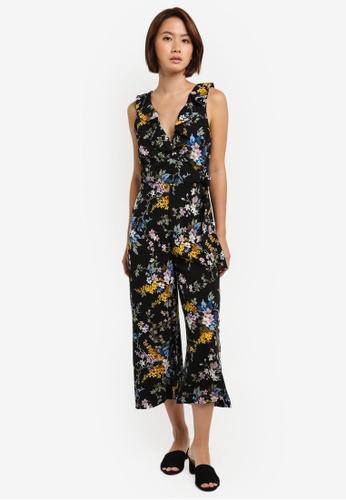 WAREHOUSE black Trailing Floral Jumpsuit 9BB1AAAEDA7713GS_1