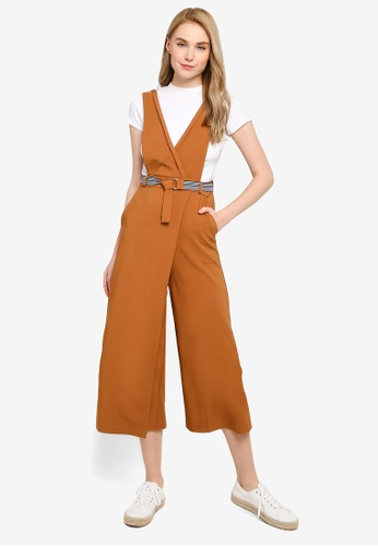 Hopeshow brown Sleeveless Jumpsuit With Front Overlap and Belt 97BA3AAE8253EAGS_1
