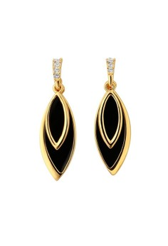 E732 Double Leaves Shape Dangle Earrings Czech & Black Epoxy Inlayed