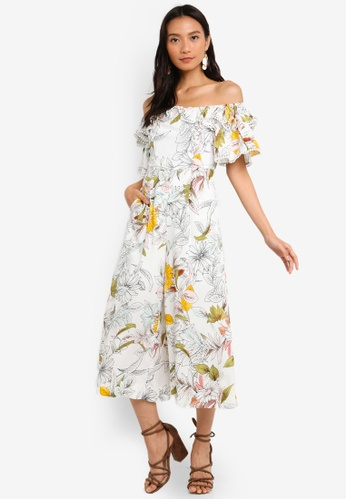 218acc240412ee Buy INDIKAH Off Shoulder Ruffle Midi Jumpsuit Online on ZALORA Singapore