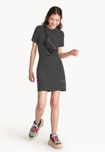 Pomelo black and white and multi Mini Striped Tee Dress - Black C2DF5AAAED5F71GS_1