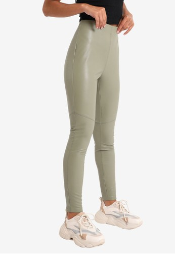 PIMKIE green Faux Leather Leggings 1E761AA337AED6GS_1