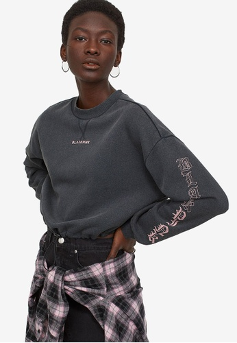 H&M grey Short Printed Sweatshirt 7CC5AAABFE9102GS_1