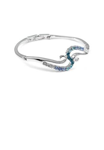 Glamorousky blue Elegant Bangle with Blue Austrian Element Crystal 05E9DAC42F4EE4GS_1