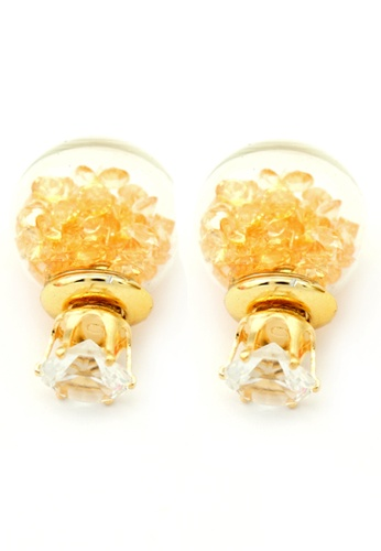 YOUNIQ gold YOUNIQ-Basic Korean Peach Wishing Crystal Ball Earring YO999AC95TIMMY_1