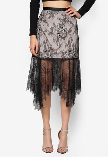 不對稱esprit旗艦店蕾絲及膝裙, 服飾, 裙子