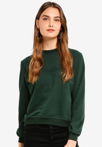 ICHI 綠色 壓紋素色棉T 3A9F6AAEFACB65GS_1