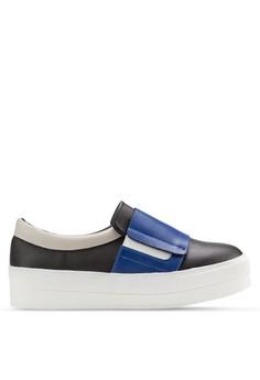 【ZALORA】 三色拼接厚底休閒懶人鞋