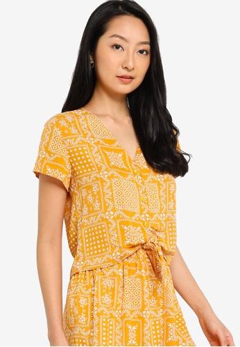 ZALORA BASICS yellow Front Tie Resort Shirt 91B72AAF7009B4GS_1
