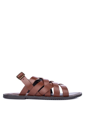 Alberto brown Strappy Sling Back Flat Sandals A8307SHB723AE8GS_1