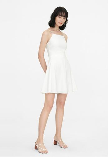 Pomelo white Halter Neck A Line Dress - White EB958AA471A4DFGS_1