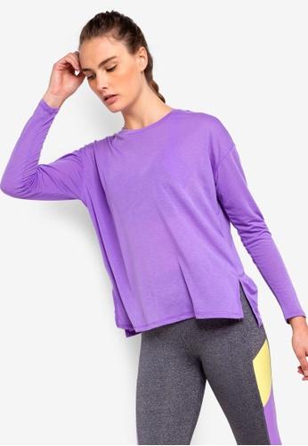 Cotton On Body purple Long Sleeve Split Hem Top 1D45BAA85E773BGS_1