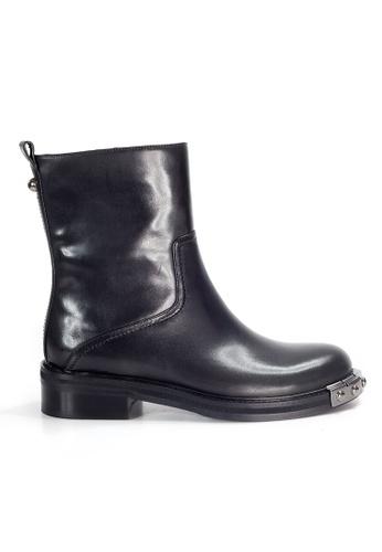 Shu Talk black Amaztep Rockabilly Mid-Calf Leather Boots 67B5ASH6AD4D07GS_1