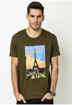 Men's Round Neck with Print Paris T-shirt