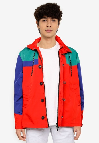 Desigual red Alan Colorblock Hooded Jacket A1573AA9BCBF1EGS_1