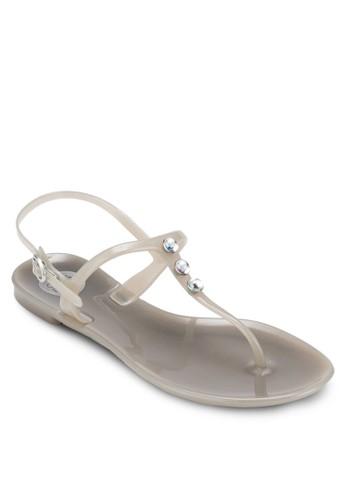 Salermo 鉚esprit香港分店地址釘夾趾涼鞋, 女鞋, 鞋