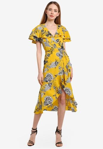River Island yellow Floral Frill Midi Dress 27E96AA4CB7A01GS_1