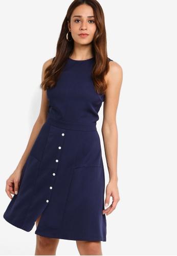 ZALORA 海軍藍色 Button Down Sleeveless Dress 1BFD8AA7834833GS_1