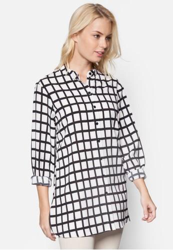 esprit 尖沙咀格紋寬版長袖襯衫, 服飾, 上衣